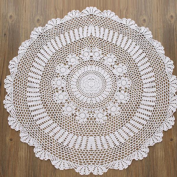 Encaje vintage redondo Crochet mantel mesa cubierta hecha a mano ...