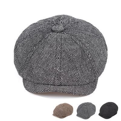 Retro Style Newsboy Hat Octagonal Cap Black English Style Artist's Hat Autumn Winter Flat Hat