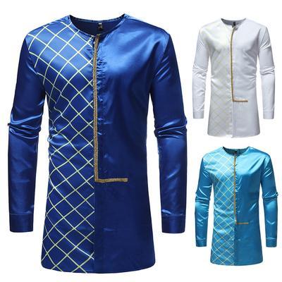 fb77a65f59 Outono Inverno Africano impressão manga longa túnica camisa blusa de alto  luxo masculina