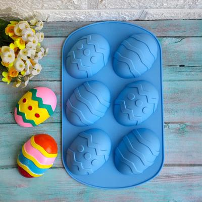 Set of 4 Silicone 6-Cavity Easter Egg Shape Cake Baking Mold DIY Chocolate Bakeware Pan for Handmade Soap Pastry Cake Muffin Ice Cube Biscuit Pudding