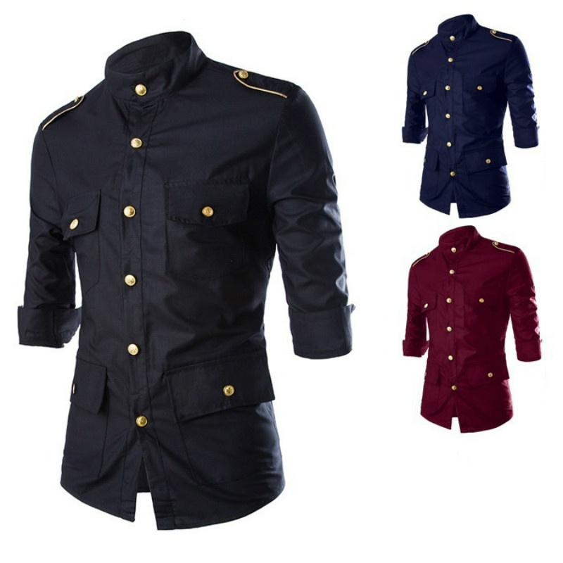 Frieed Men Dashiki African Print Lapel Long Sleeve Buttons Basic Shirts
