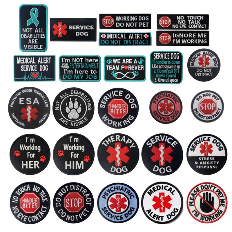 Embroidery Sew On Patch Badge SERVICE DOG Fabric Hat Jeans Applique Craft