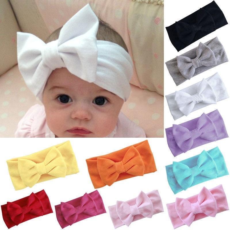 1pc Stretch Turban Knot Head Wrap Baby Girls Kids Toddler Bow Hairband Headband