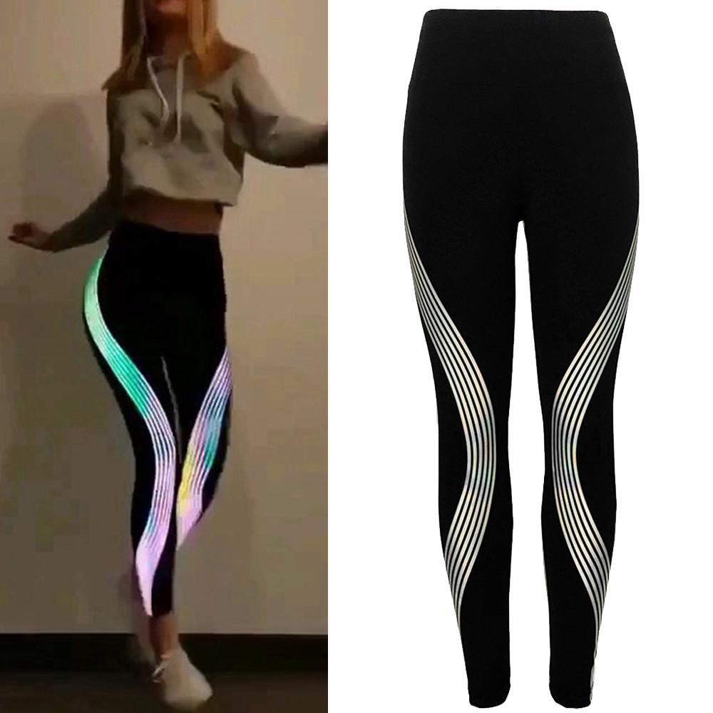 HS Women Neon Rainbow Leggings Fitness Sports Gym Running Yoga Athletic Pants