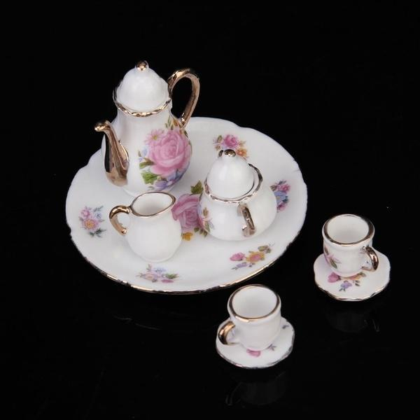 8pcs 1//6 Dollhouse Miniature Dining Ware Porcelain Rose Tea Dish Cup Plate Set !