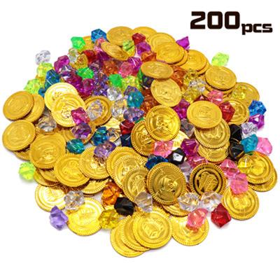 20pcs Pirate Coins Treasure Children Play Toy Gifts 100pcs Fake Gems Diamonds