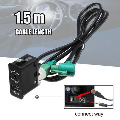 AUX USB Socket Switch AUX USB Cable,Car USB AUX Switch Socket with Wire Harness Cable Adapter for BMW 3 5 7 Series E60 E61 E63 E64 E87 E90 E70 F25 X3 X4 X5 X6