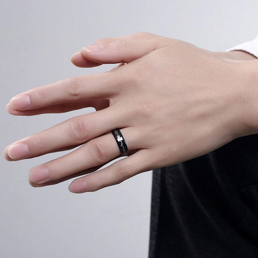 Men\'s Heartbeat Comfort Fit Ring Wedding Band Engraved Forever Love ...
