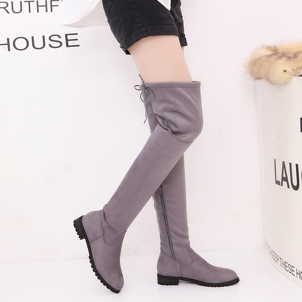 Womens Flat Knee High Boots Faux suede Riding Long Boots Ladies Low Heel Size