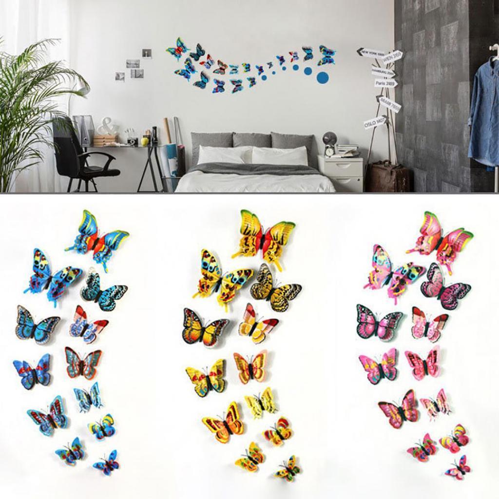 12PCS P/úrpura Set 3D PVC Im/án Mariposas Etiqueta de la Pared DIY Imanes de refrigerador Extra/íble Calcoman/ía de Arte para la decoraci/ón del hogar