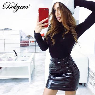 2319e170307 Dulzura высокой талией PU кожа мини-карандаш юбка сексуальная Зимний женщин  осень черный красный твердых