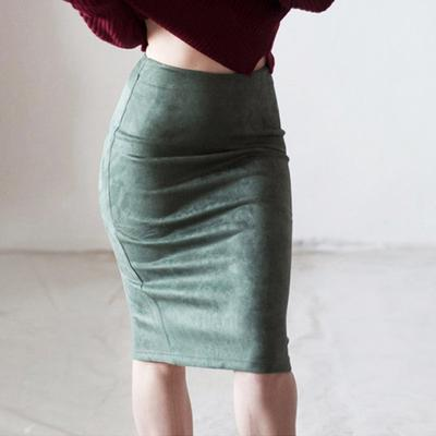 d051b3e29 Las mujeres ante Color sólido falda cintura alta básica Bodycon fractura  rodilla longitud faldas lápiz