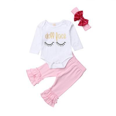 1e266a19441a Newborn Infant Baby Girls Tops Romper Bodysuit Long Pants Bell Bottoms  Headband Outfits Set