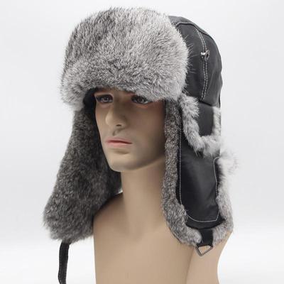 1262687a48e Winter Warm Rabbit Fur Hat Hat Male Rabbit Fur Men s Thick Warm Earmuffs Cap  beanies