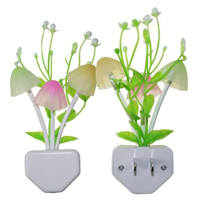Romantic Flower Mushroom LED Night Light Sensor Plug-in Wall Lamp Home Decor New