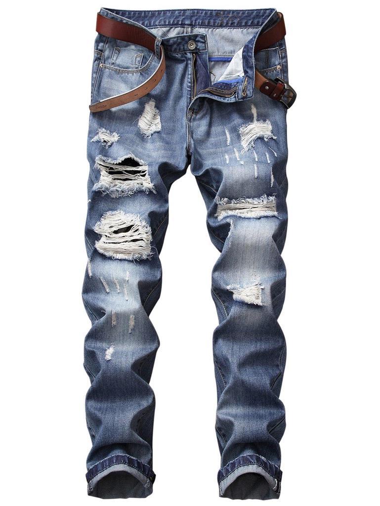 1c600e5954 Cremallera pierna recta mosca blanqueado efecto Jeans apenado ...