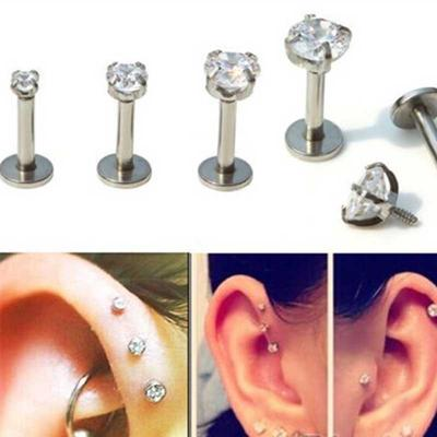 Women 3 Claw Surgical Steel Round Crystal Ear Cartilage Piercing Helix Earring