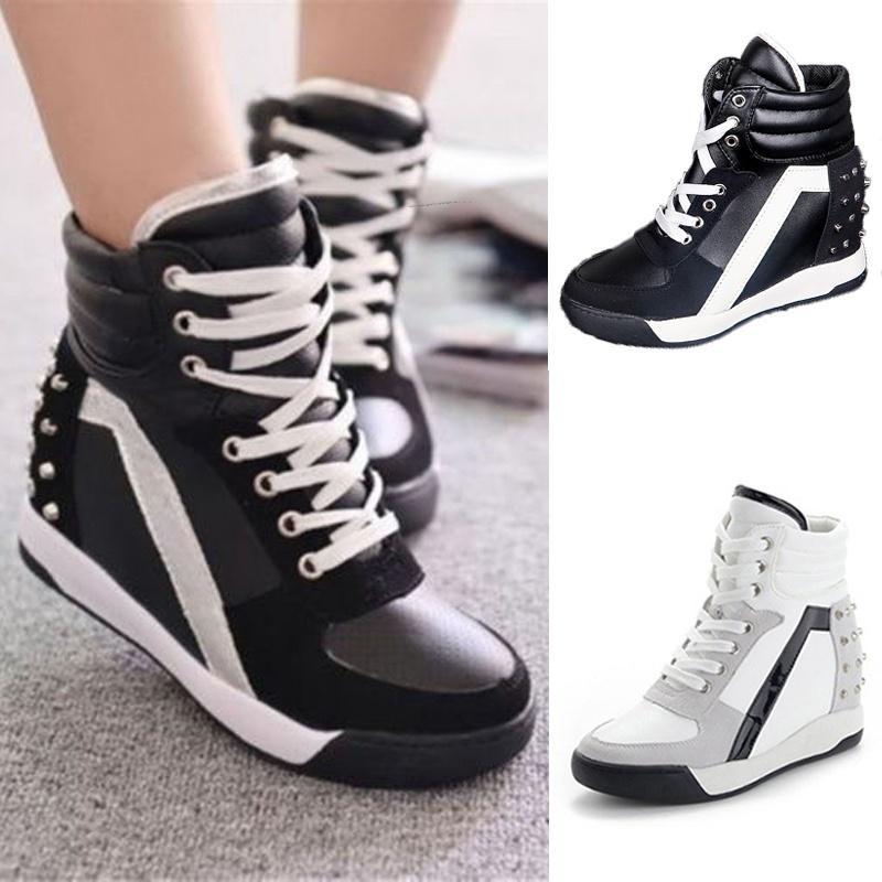 Womens Hidden Wedge Non-slip Flat Boots High Top Comfort Walking Casual Zip Shoe