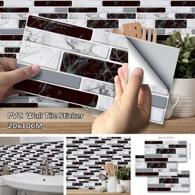 9pcs 20x10cm Self Adhesive Wall Tile Stickers Pvc Long Brick Kitchen Bathroom Decor Buy At A Low Prices On Joom E Commerce Platform