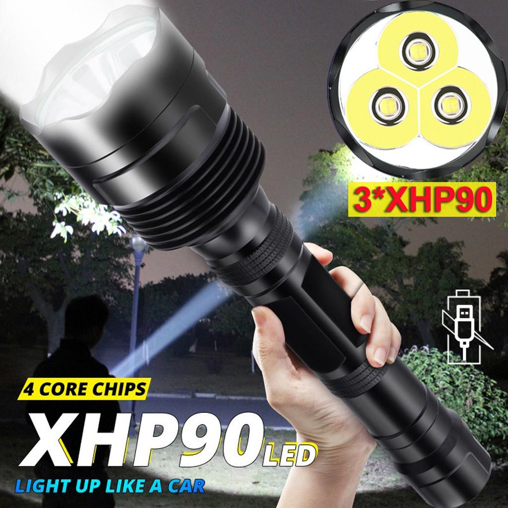 Waterproof 100000LM XHP90 LED Flashlight Zoomable Torch Light  3 Modes BE