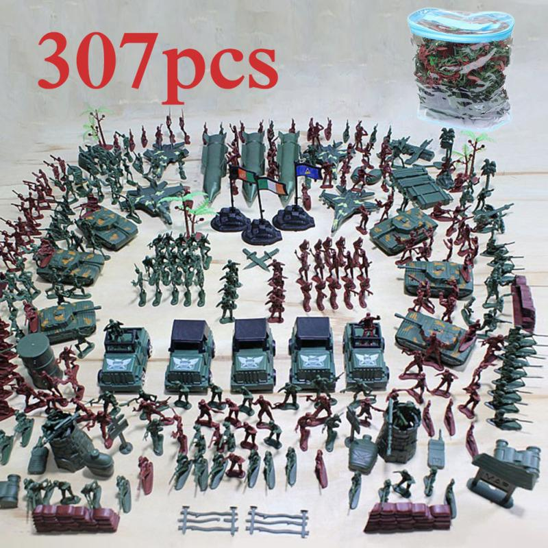 10pcs Military Sand Scene Model Plastic Toy Soldiers Kits Armored Car