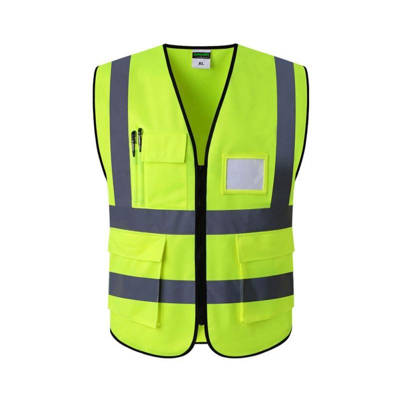 Amarillo XL Chaleco Reflectante de Advertencia Ropa de Trabajo Vestimenta Protectora de Alta Visibilidad d/ía Noche para Correr Seguridad del tr/áfico en Bicicleta