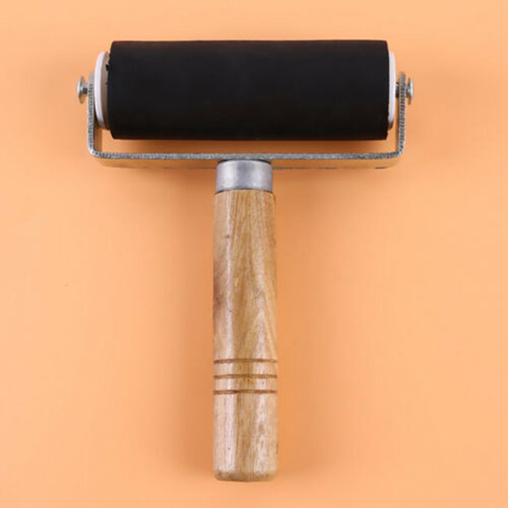 5cm Rollend Werkzeug Gummi Roller Brayer Mit Holz Griff Für Handwerk Werkzeuge 3