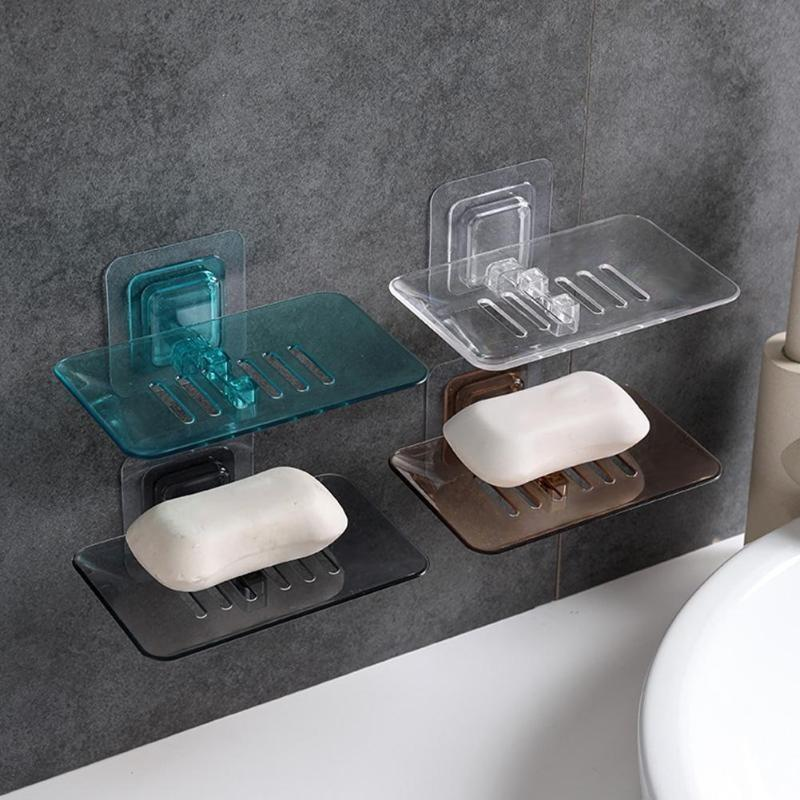 Bathroom Shower Double-Layer Soap Box Soap Dish Suction Holder Storage Basket