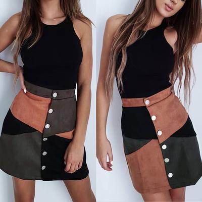 09e959aadc0 Женщины высокой талией однобортный Colorblock замши короткая юбка тонкий  мини-юбка трапеция с кнопками