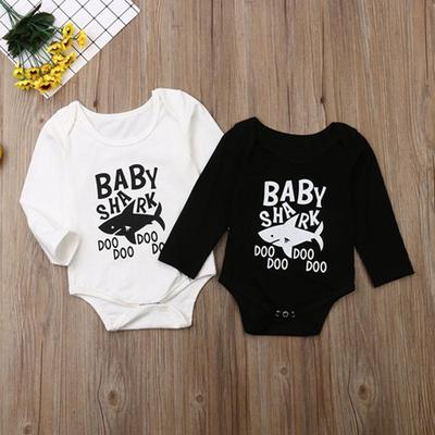Infant Baby Boys Girls Cotton Long Sleeve Shark Doo Jumpsuit Romper One-Piece Romper Clothes