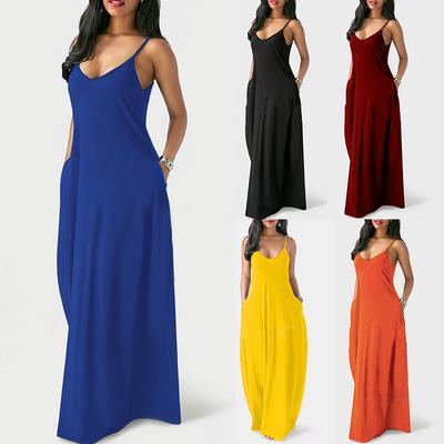 63a57e1ec4c Женщины сексуальная соболезновать пояса карманах рукавов платья сыпучих  твердых длинное платье