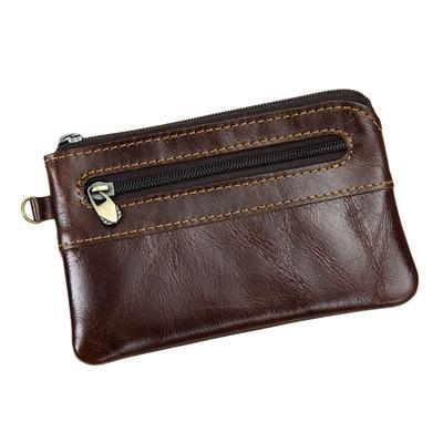 Men/'s Women/'s Genuine Leather Coin Purse Zipper Wallet Card Holder Vintage Retro