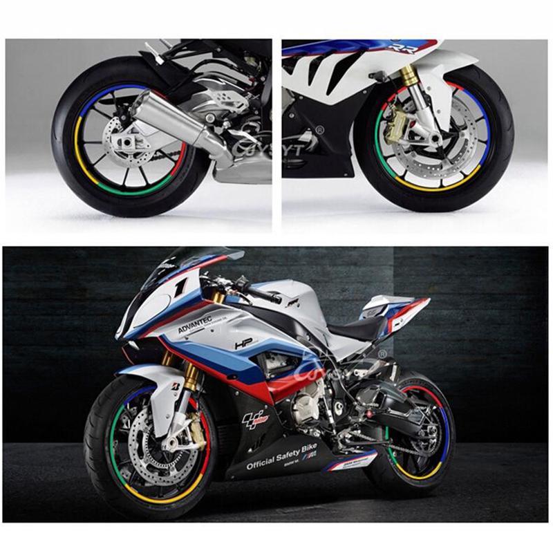 16 Yellow Wheel Rim Reflective Stickers Stripe Motorbike Safe Motorcycle Bike