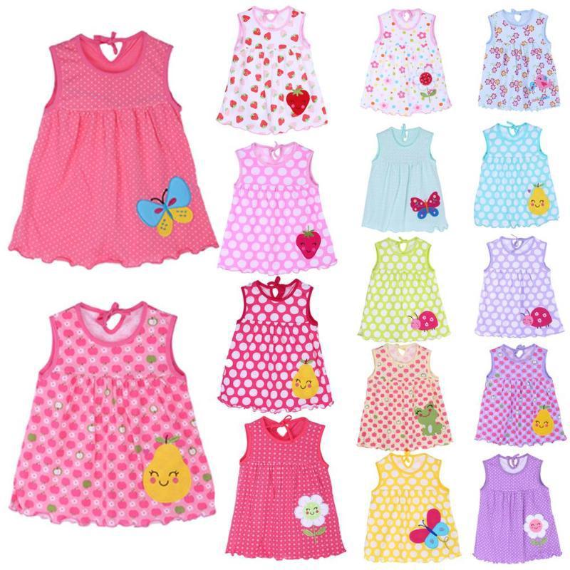 Baby девушка летом мультфильм платье без рукавов чистого хлопка юбка фото