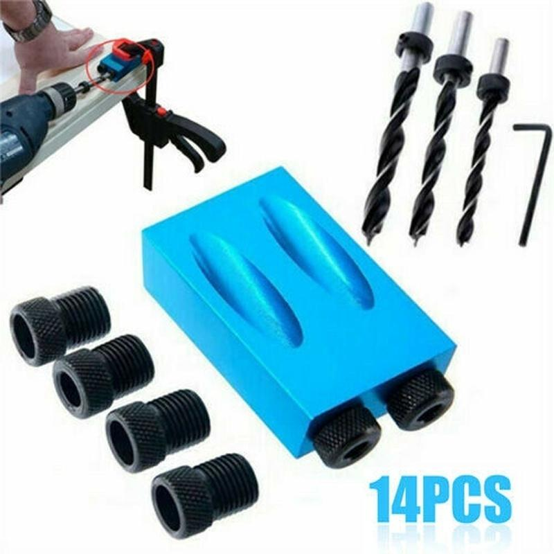 14Pcs Pocket Hole Screw Jig With Dowel Drill Set Carpenters Wood Joint Tools