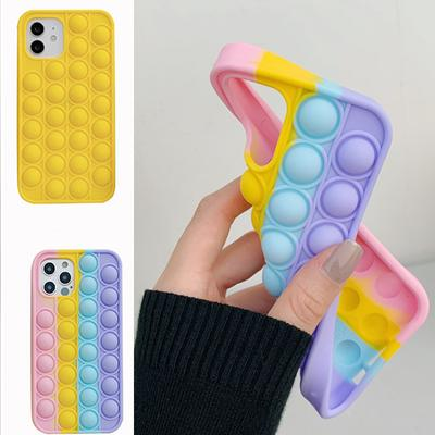 For iPhone 12 11 Pro Max XS XR Durable Relieve Stress Push Bubble Toys Pop Fidget Hot Silicone Case