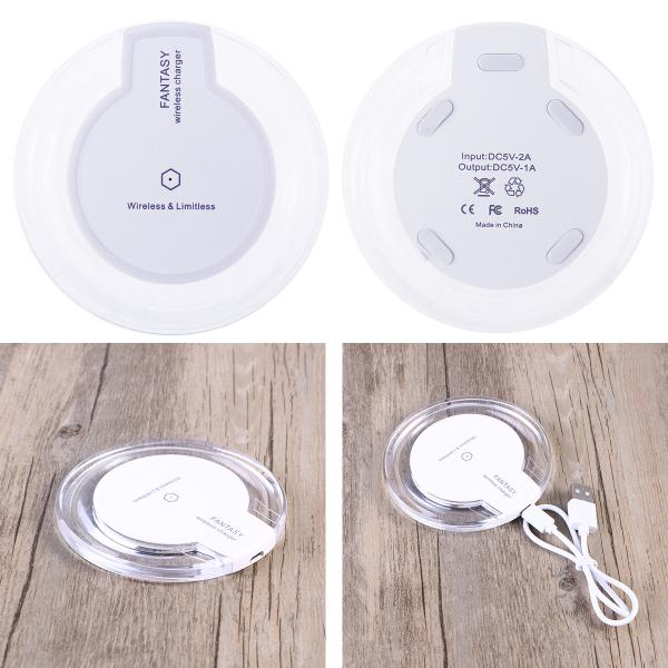 Wireless Charger Qi Standard Ultra Slim UFO Shape Crystal Clear Fantasy Wireless Charging Pad LED L
