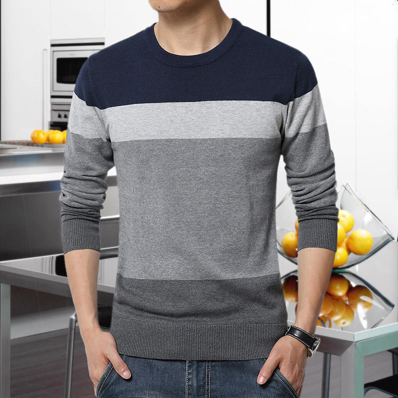 Fashion Casual Striped Slim Fit Knitting Men Pullover Sweaters