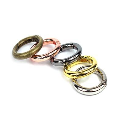 5 Pcs Lot Circle Keychain Round Carabiner Ring Spring