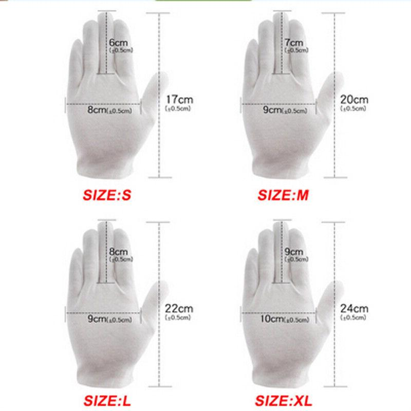 6 Pairs white gloves cotton soft thin coin jewelry silver inspection work glo BX