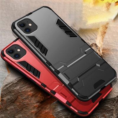Slim Hybrid Shockproof Bumper Hard Armor Case Stand Cover For iPhone 12 Pro Max Samsung Galaxy S20 FE Huawei Y6p P20 P40 Lite Xiaomi Redmi 9C Meizu