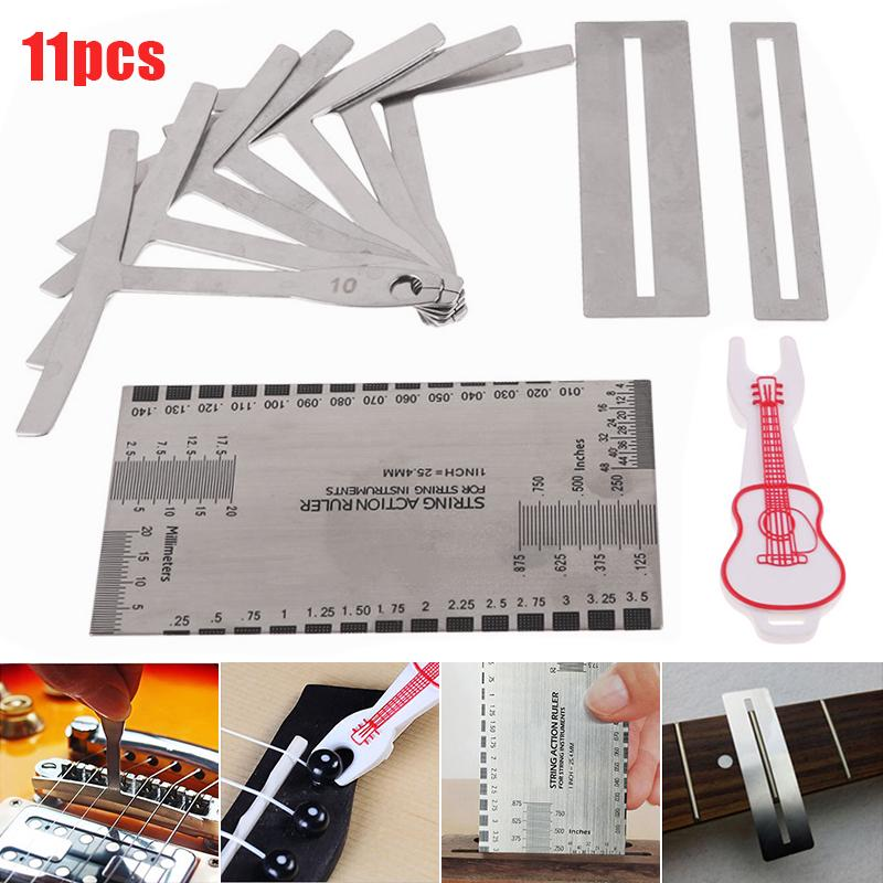 11PCS Understring Radius Gauge For Guitar With Keychain Bass Stainless Steel
