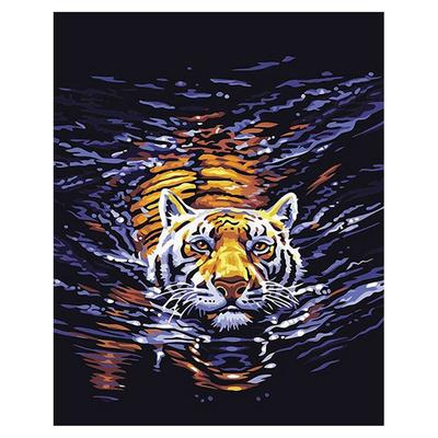 DIY Cat /& Tiger Reflection Paint By Number Kit Acrylic Oil Painting Canvas Art