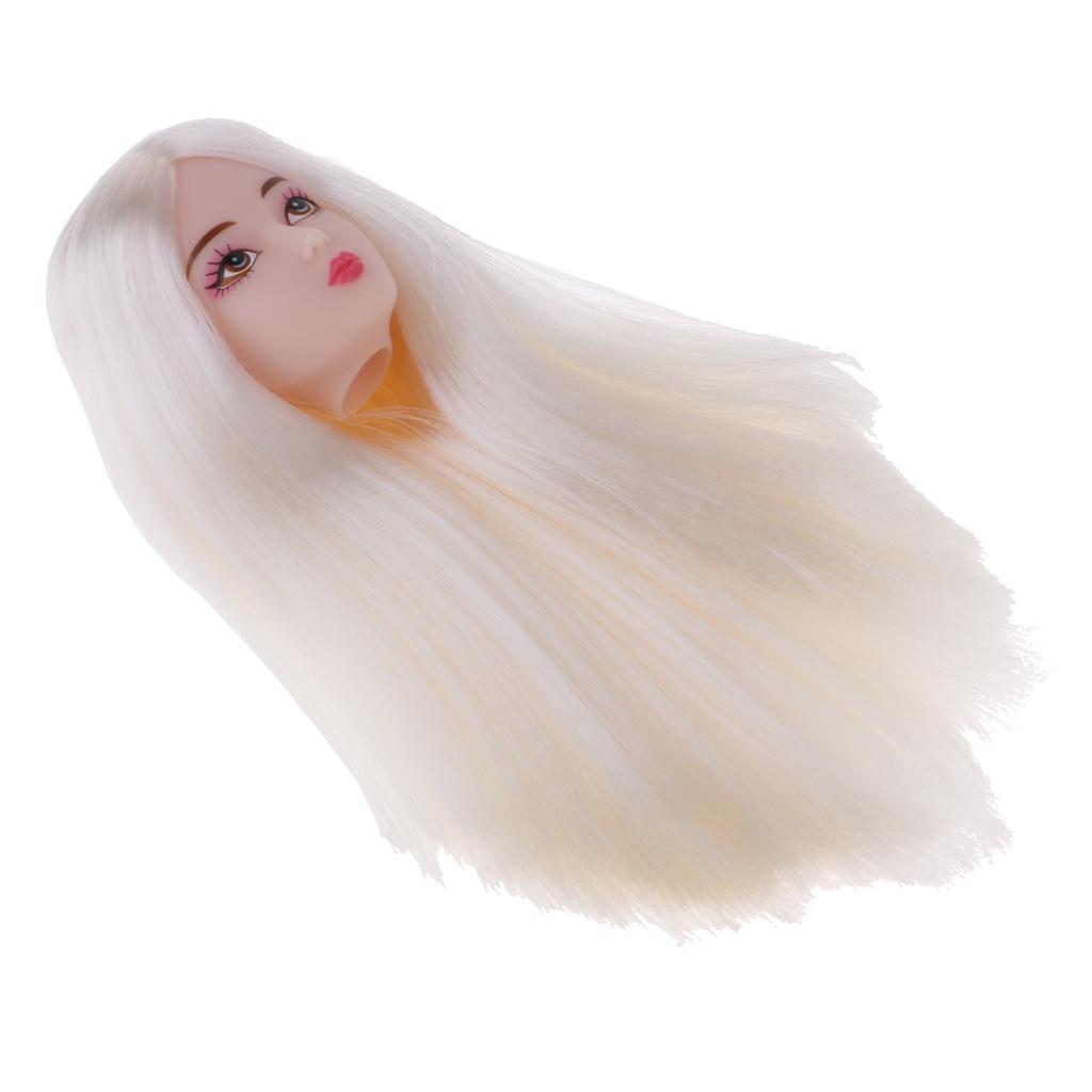 1//6 BJD Head Sculpt with Green Wig Doll Replacement Body Part Accessory