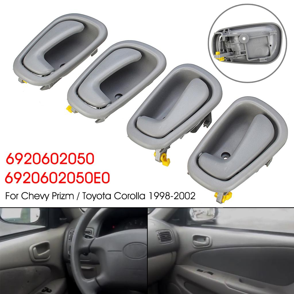 Gray Interior Door Handle Front Rear Right Left 4Pcs for 1998-02 Toyota Corolla