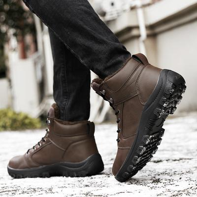 Super explosion Men Leather Warm Snow Boots Outdoor wear-Resistant Non-Slip Waterproof Cotton Dress Shoes
