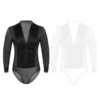 1X Men Sheer Splice Bodysuit Mesh See Through Jumpsuit Leotard Nightwear Gay New