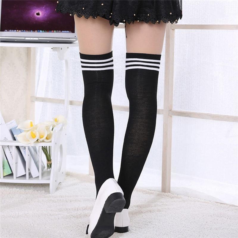 Chicas dama mujer muslo rodilla alta calcetines medias largas de ...