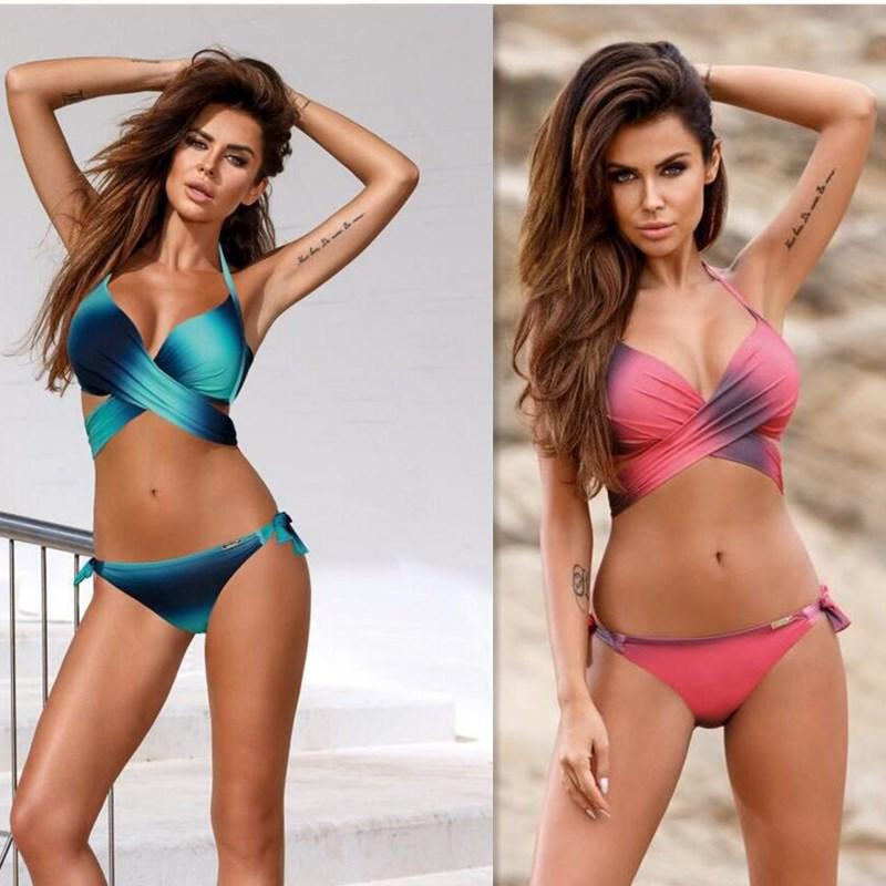 aa72ac4f5d15e Woman Summer Triangle Split Gradient Swimsuit Sexy Bikini-buy at a low  prices on Joom e-commerce platform
