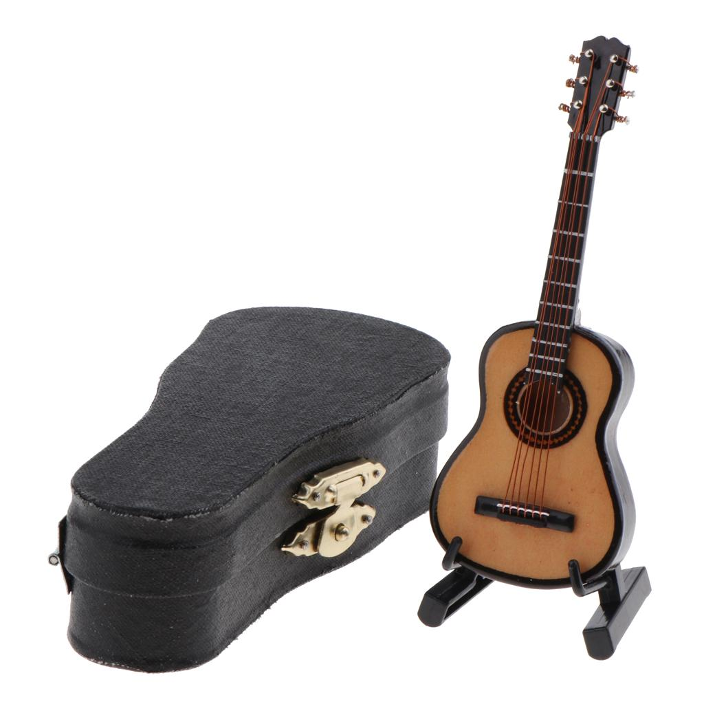 1//6 Scale Guitar Instrument With Display Stand /& Case Set Dollhouse Decor